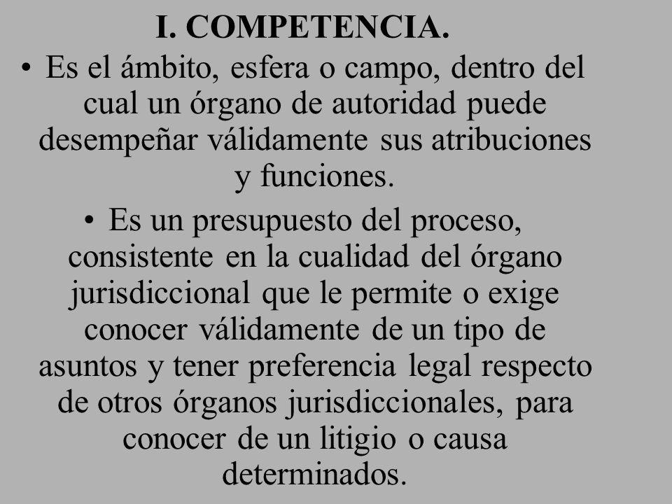 I. COMPETENCIA. Es el ámbito, esfera o campo, dentro del cual un órgano de autoridad puede desempeñar válidamente sus atribuciones y funciones. Es un
