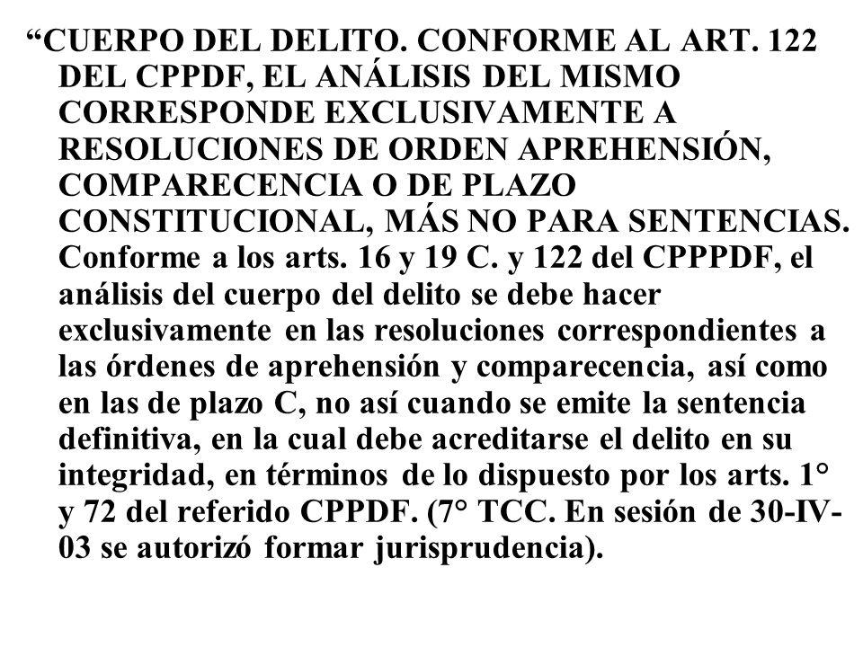 CUERPO DEL DELITO. CONFORME AL ART. 122 DEL CPPDF, EL ANÁLISIS DEL MISMO CORRESPONDE EXCLUSIVAMENTE A RESOLUCIONES DE ORDEN APREHENSIÓN, COMPARECENCIA