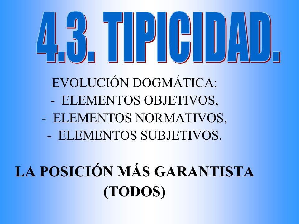 EVOLUCIÓN DOGMÁTICA: -ELEMENTOS OBJETIVOS, -ELEMENTOS NORMATIVOS, -ELEMENTOS SUBJETIVOS. LA POSICIÓN MÁS GARANTISTA (TODOS)