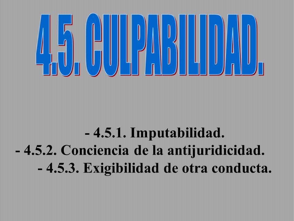 - 4.5.1. Imputabilidad. - 4.5.2. Conciencia de la antijuridicidad. - 4.5.3. Exigibilidad de otra conducta.