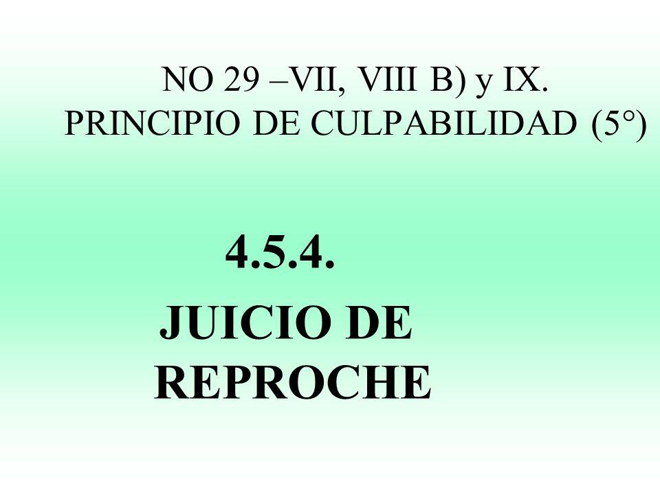 NO 29 –VII, VIII B) y IX. PRINCIPIO DE CULPABILIDAD (5°) 4.5.4. JUICIO DE REPROCHE