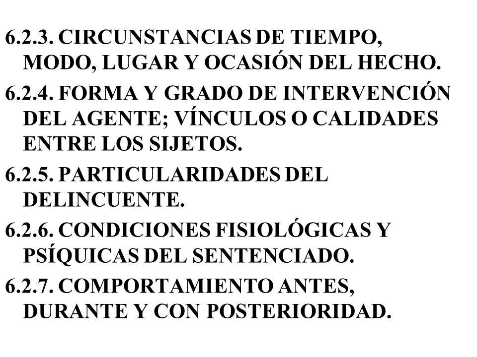 6.2.3. CIRCUNSTANCIAS DE TIEMPO, MODO, LUGAR Y OCASIÓN DEL HECHO. 6.2.4. FORMA Y GRADO DE INTERVENCIÓN DEL AGENTE; VÍNCULOS O CALIDADES ENTRE LOS SIJE