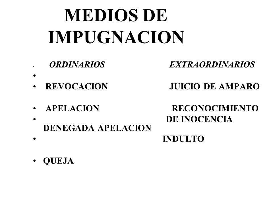 MEDIOS DE IMPUGNACION ORDINARIOS EXTRAORDINARIOS REVOCACION JUICIO DE AMPARO APELACION RECONOCIMIENTO DE INOCENCIA DENEGADA APELACION INDULTO QUEJA