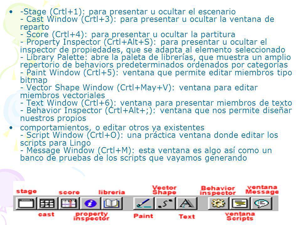 -Stage (Crtl+1): para presentar u ocultar el escenario - Cast Window (Crtl+3): para presentar u ocultar la ventana de reparto - Score (Crtl+4): para p
