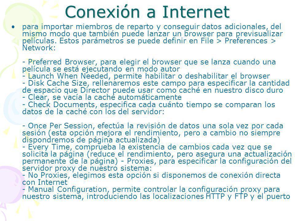 Conexión a Internet para importar miembros de reparto y conseguir datos adicionales, del mismo modo que también puede lanzar un browser para previsual