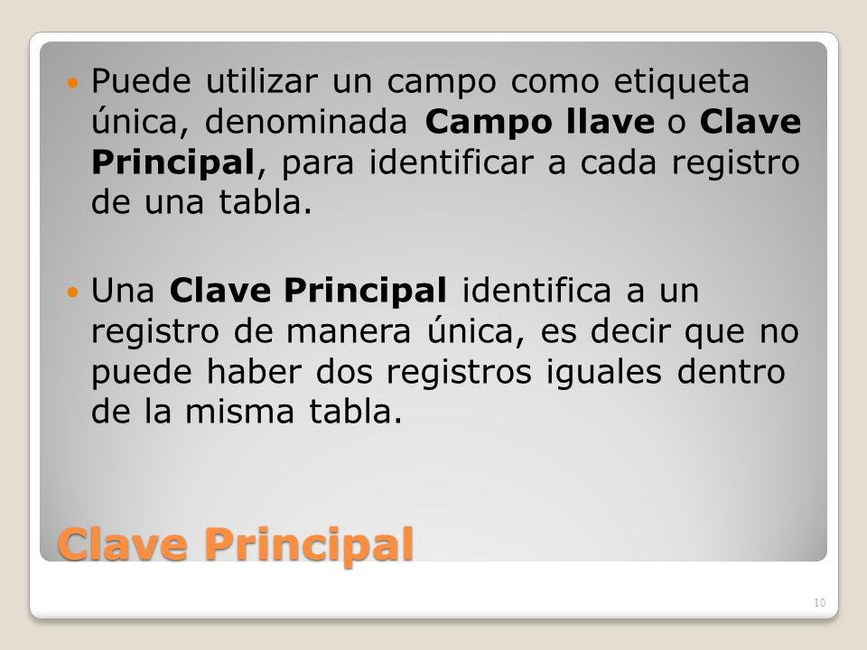 Clave Principal Puede utilizar un campo como etiqueta única, denominada Campo llave o Clave Principal, para identificar a cada registro de una tabla.