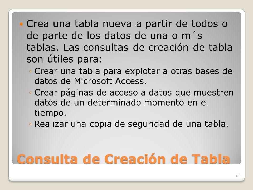 Consulta de Creación de Tabla Crea una tabla nueva a partir de todos o de parte de los datos de una o m´s tablas. Las consultas de creación de tabla s