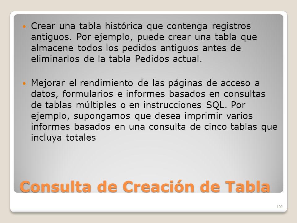Consulta de Creación de Tabla Crear una tabla histórica que contenga registros antiguos. Por ejemplo, puede crear una tabla que almacene todos los ped