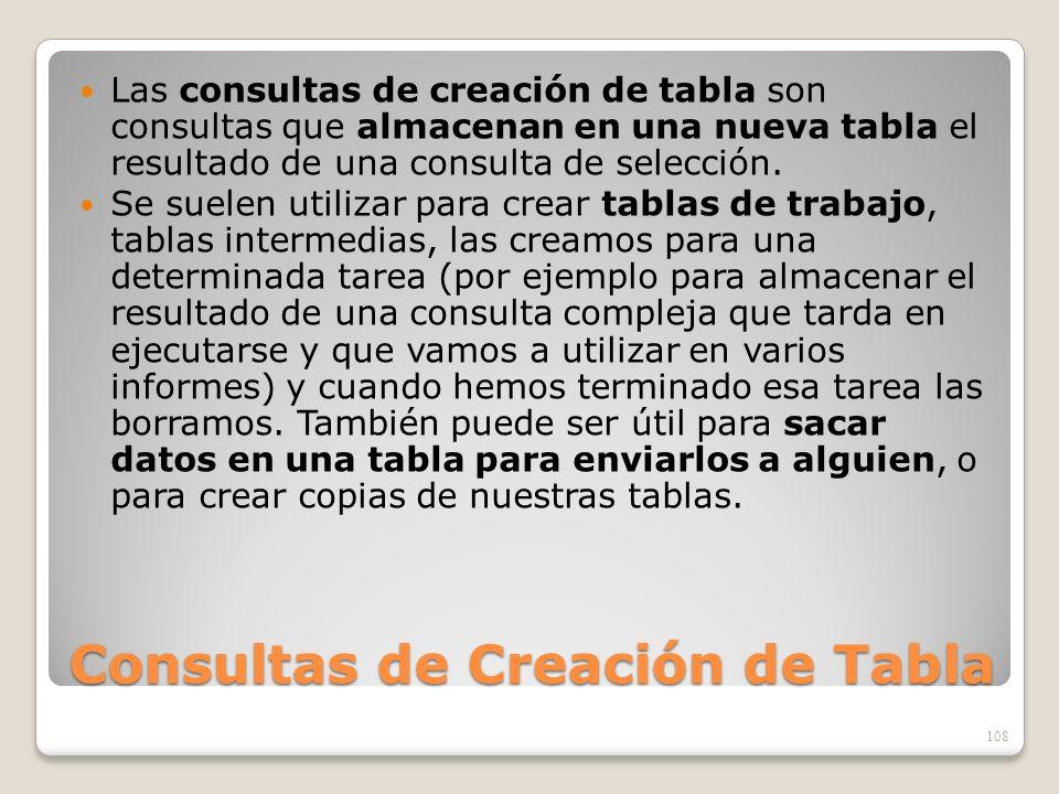 Consultas de Creación de Tabla Las consultas de creación de tabla son consultas que almacenan en una nueva tabla el resultado de una consulta de selec