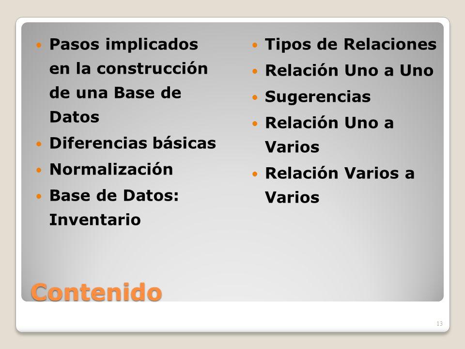 Contenido Pasos implicados en la construcción de una Base de Datos Diferencias básicas Normalización Base de Datos: Inventario Tipos de Relaciones Rel