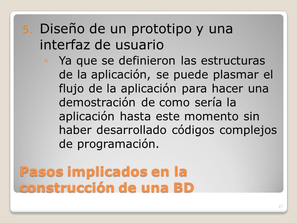 Pasos implicados en la construcción de una BD 5. Diseño de un prototipo y una interfaz de usuario Ya que se definieron las estructuras de la aplicació