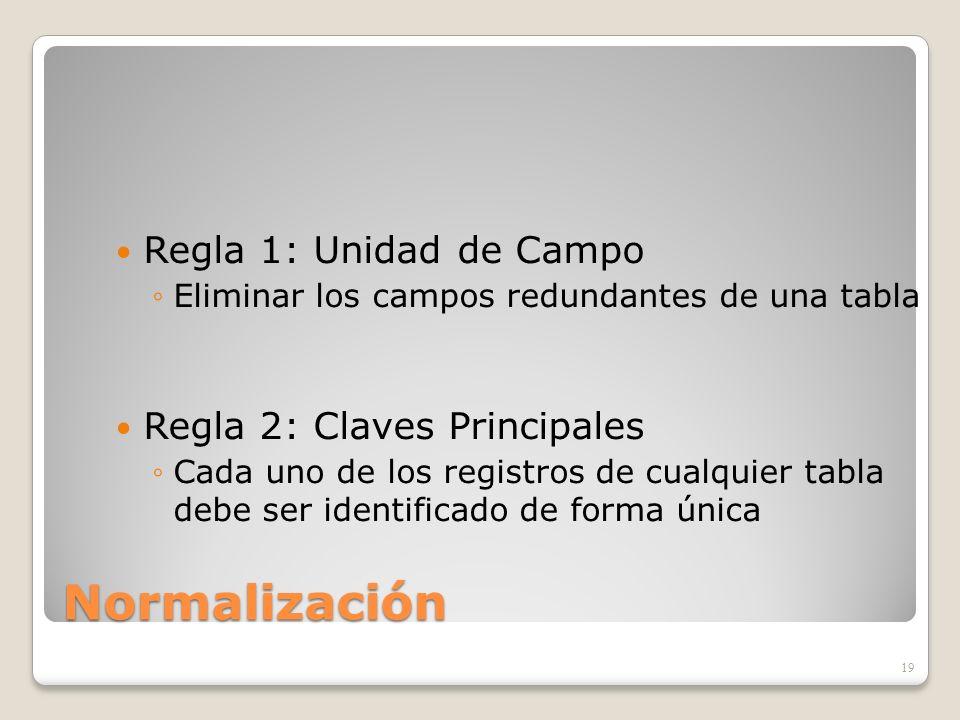 Normalización Regla 1: Unidad de Campo Eliminar los campos redundantes de una tabla Regla 2: Claves Principales Cada uno de los registros de cualquier