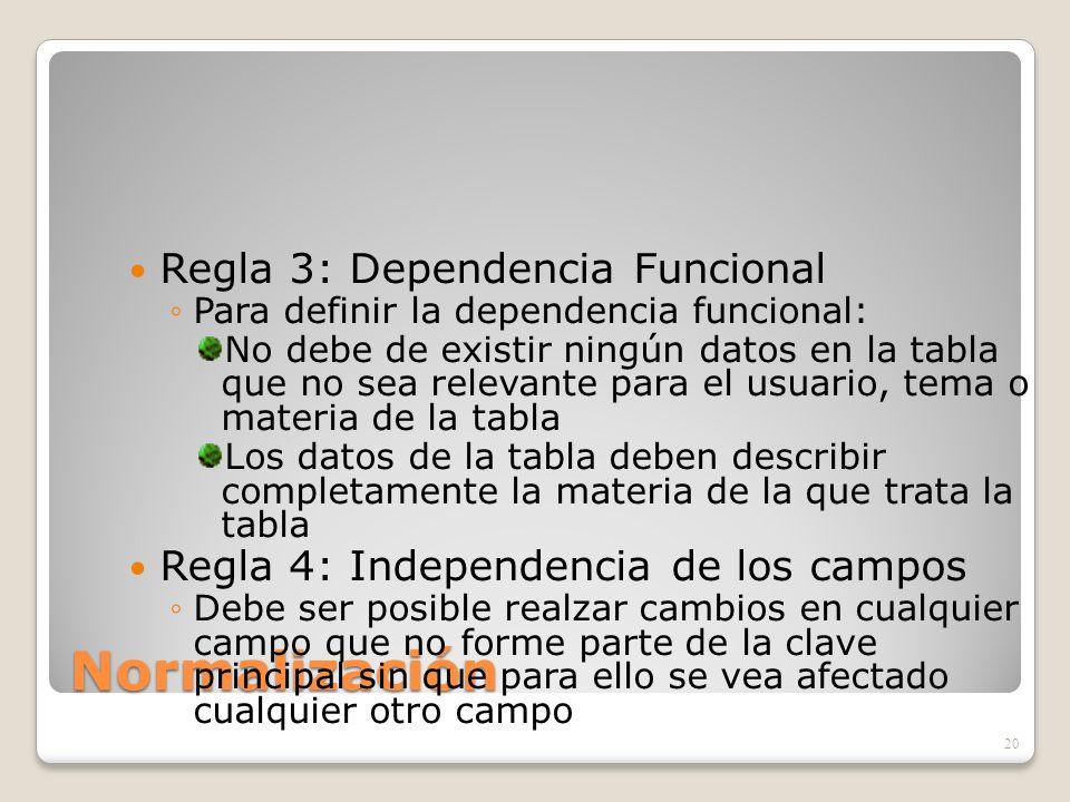 Normalización Regla 3: Dependencia Funcional Para definir la dependencia funcional: No debe de existir ningún datos en la tabla que no sea relevante p