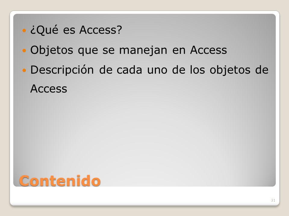 Contenido ¿Qué es Access? Objetos que se manejan en Access Descripción de cada uno de los objetos de Access 31