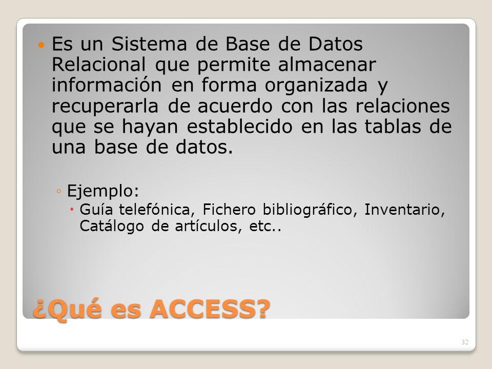 ¿Qué es ACCESS? Es un Sistema de Base de Datos Relacional que permite almacenar información en forma organizada y recuperarla de acuerdo con las relac