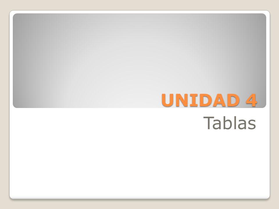 UNIDAD 4 Tablas