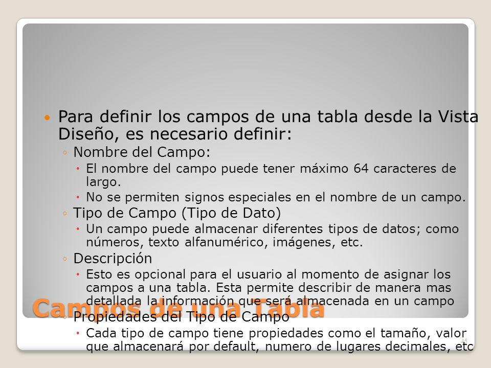 Campos de una Tabla Para definir los campos de una tabla desde la Vista Diseño, es necesario definir: Nombre del Campo: El nombre del campo puede tene