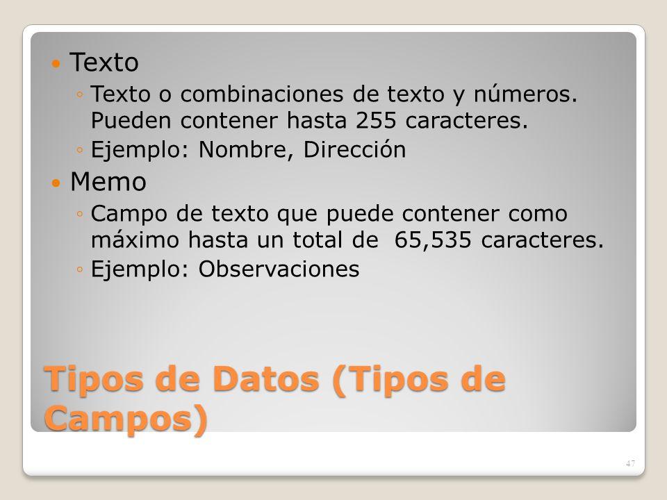 Tipos de Datos (Tipos de Campos) Texto Texto o combinaciones de texto y números. Pueden contener hasta 255 caracteres. Ejemplo: Nombre, Dirección Memo