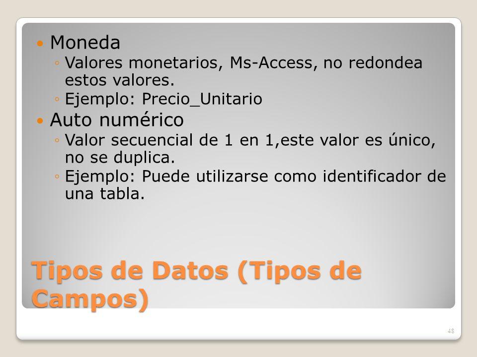 Tipos de Datos (Tipos de Campos) Moneda Valores monetarios, Ms-Access, no redondea estos valores. Ejemplo: Precio_Unitario Auto numérico Valor secuenc