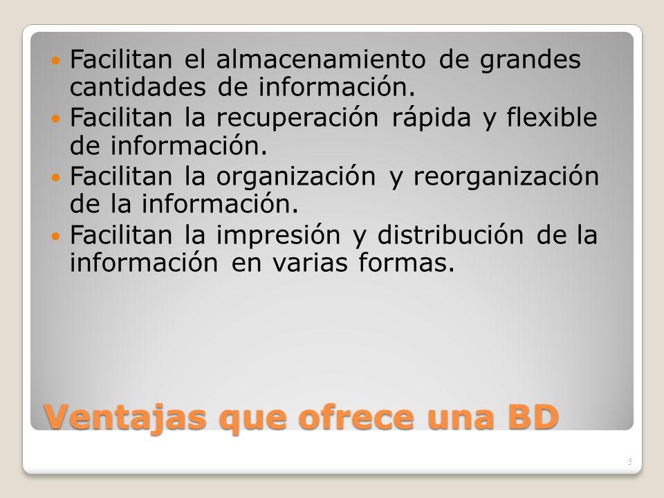 Ventajas que ofrece una BD Facilitan el almacenamiento de grandes cantidades de información. Facilitan la recuperación rápida y flexible de informació