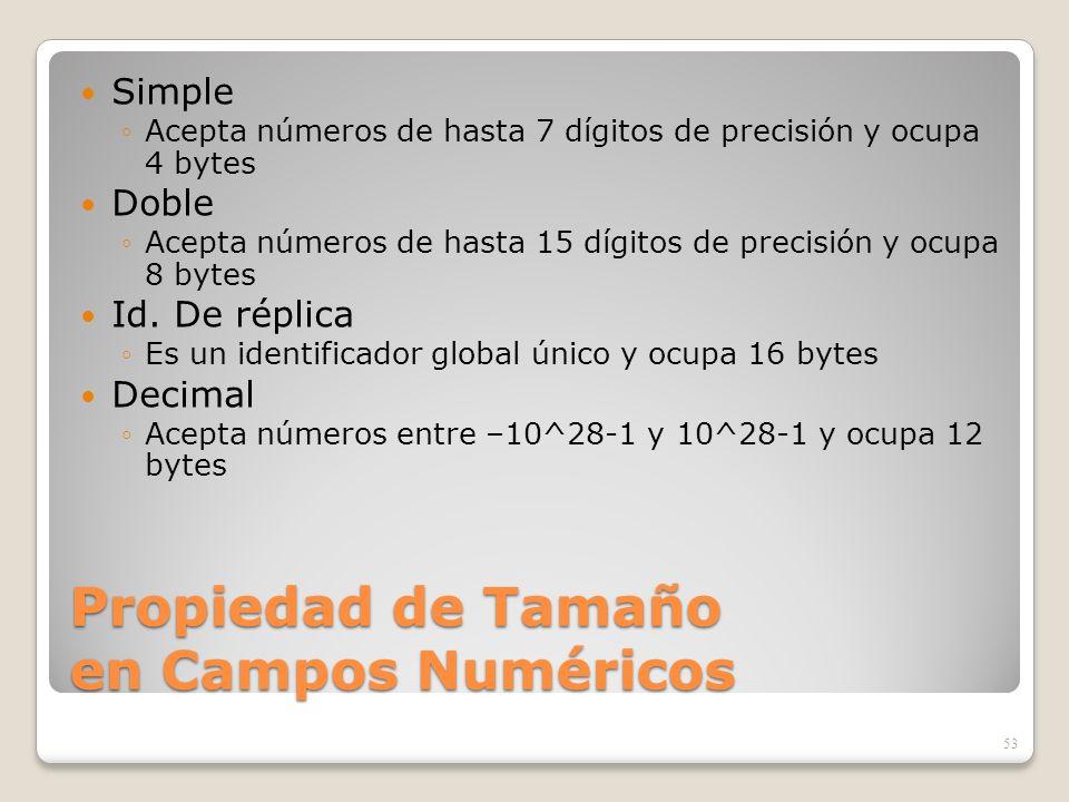 Propiedad de Tamaño en Campos Numéricos Simple Acepta números de hasta 7 dígitos de precisión y ocupa 4 bytes Doble Acepta números de hasta 15 dígitos