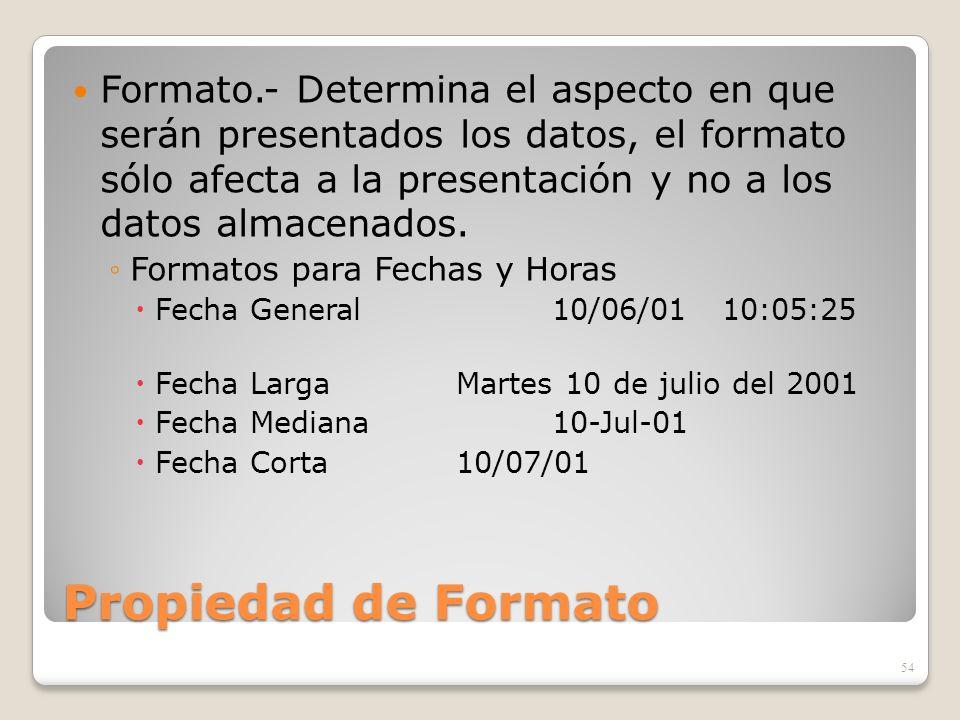 Propiedad de Formato Formato.- Determina el aspecto en que serán presentados los datos, el formato sólo afecta a la presentación y no a los datos alma