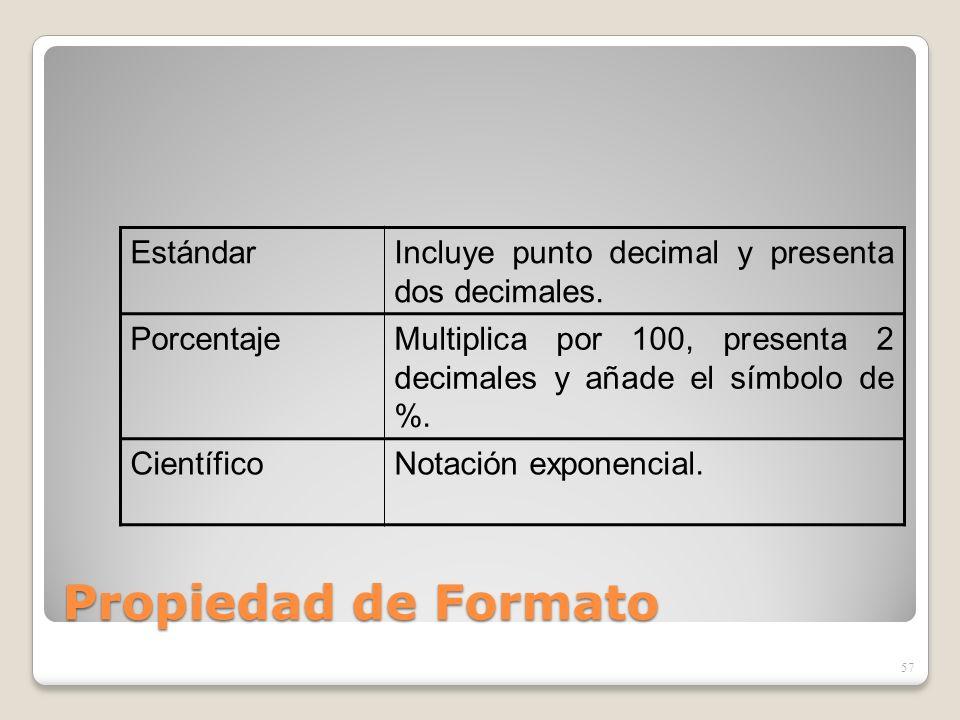 Propiedad de Formato 57 EstándarIncluye punto decimal y presenta dos decimales. PorcentajeMultiplica por 100, presenta 2 decimales y añade el símbolo