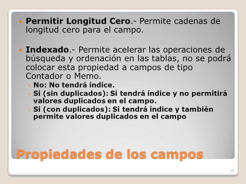 Propiedades de los campos Permitir Longitud Cero.- Permite cadenas de longitud cero para el campo. Indexado.- Permite acelerar las operaciones de búsq