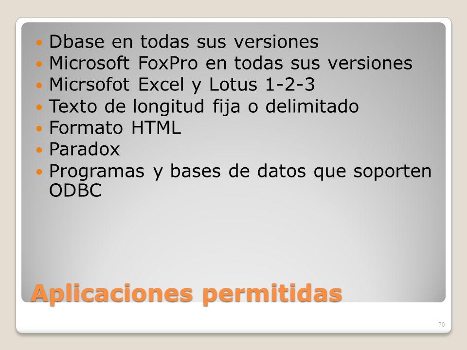 Aplicaciones permitidas Dbase en todas sus versiones Microsoft FoxPro en todas sus versiones Micrsofot Excel y Lotus 1-2-3 Texto de longitud fija o de