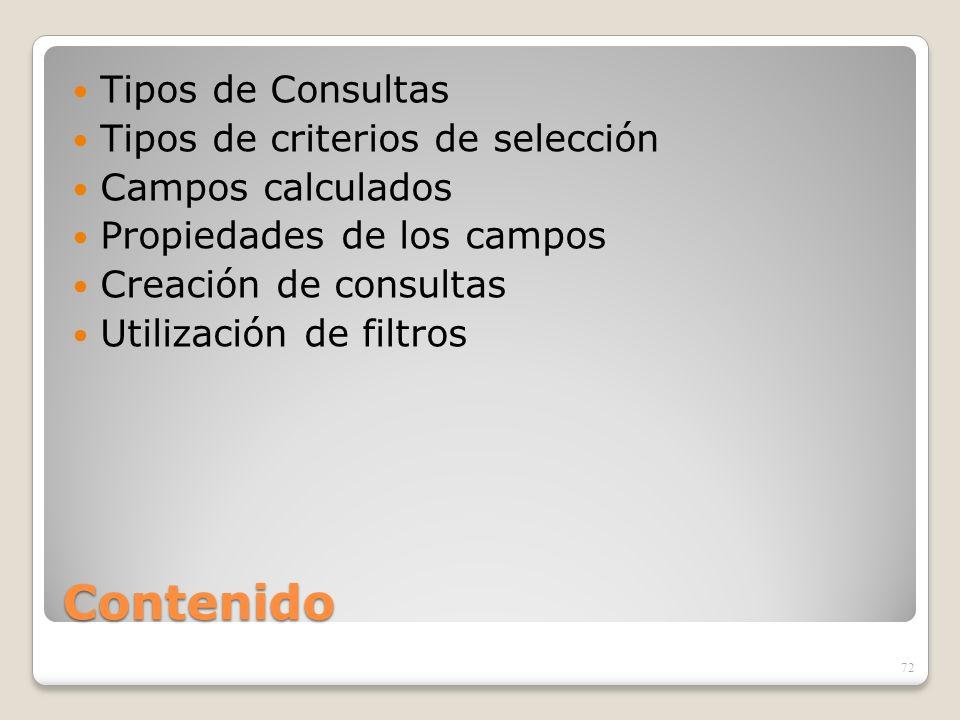 Contenido Tipos de Consultas Tipos de criterios de selección Campos calculados Propiedades de los campos Creación de consultas Utilización de filtros