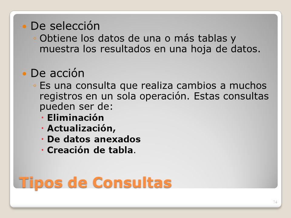 Tipos de Consultas De selección Obtiene los datos de una o más tablas y muestra los resultados en una hoja de datos. De acción Es una consulta que rea