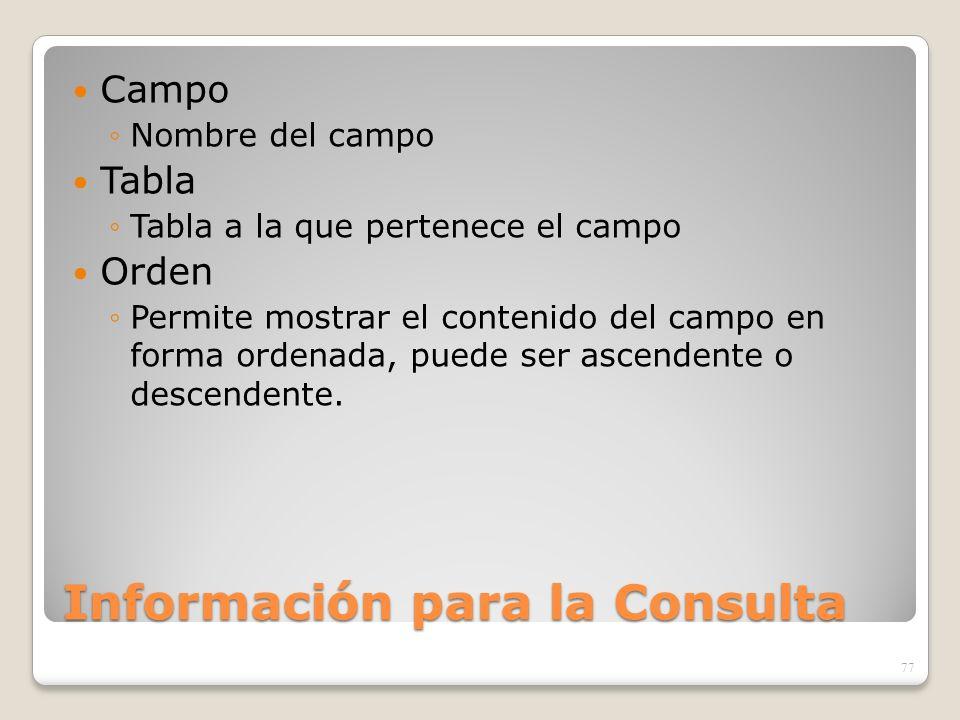 Información para la Consulta Campo Nombre del campo Tabla Tabla a la que pertenece el campo Orden Permite mostrar el contenido del campo en forma orde