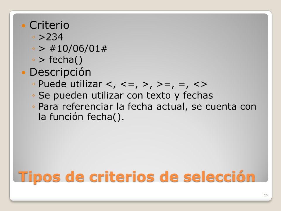 Tipos de criterios de selección Criterio >234 > #10/06/01# > fecha() Descripción Puede utilizar, >=, =, <> Se pueden utilizar con texto y fechas Para