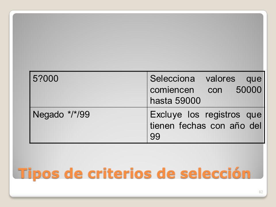 Tipos de criterios de selección 82 5?000Selecciona valores que comiencen con 50000 hasta 59000 Negado */*/99Excluye los registros que tienen fechas co
