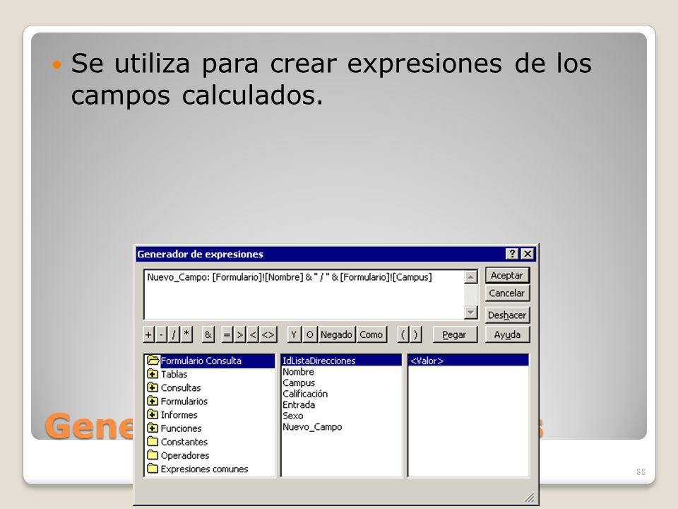Generador de Expresiones Se utiliza para crear expresiones de los campos calculados. 88