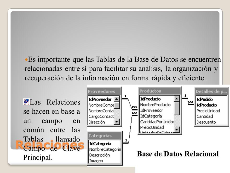 Relaciones en Tablas Es importante que las Tablas de la Base de Datos se encuentren relacionadas entre sí para facilitar su análisis, la organización