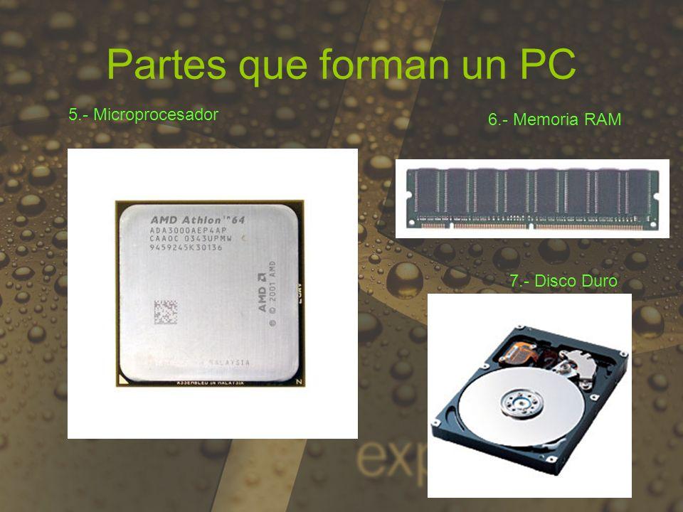 9.- Tarjeta de video 8.- CD/DVD Partes que forman un PC