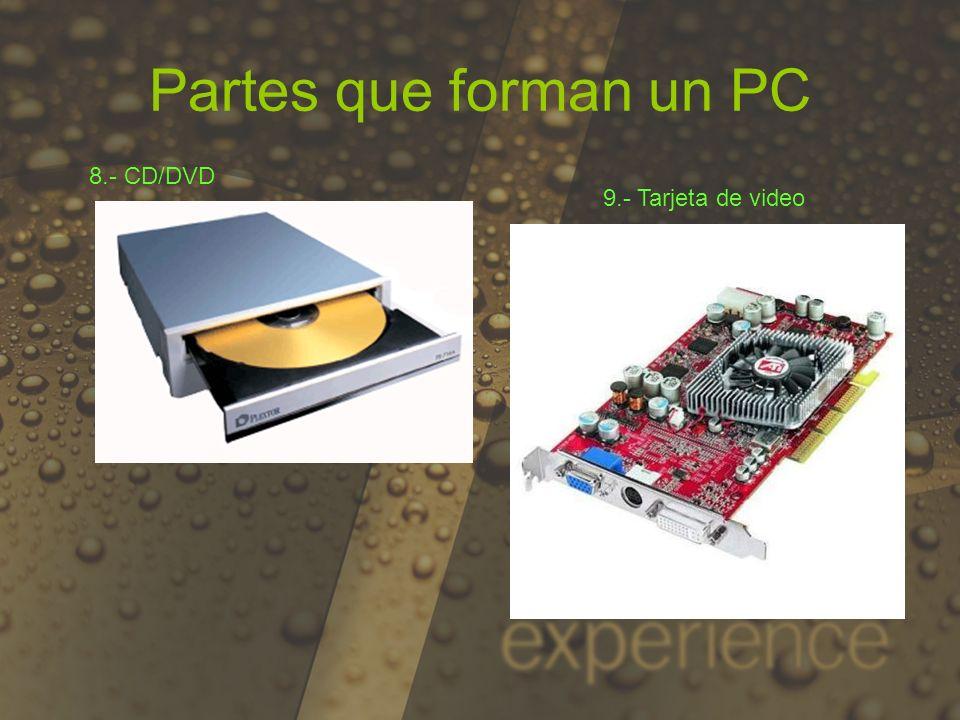 10.- Monitor 11.- Modem Partes que forman un PC 12.- Tarjeta de sonido