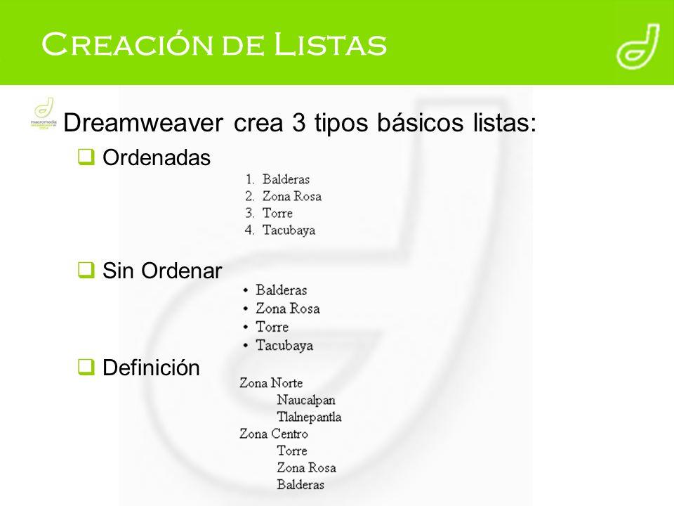 Creación de Listas Dreamweaver crea 3 tipos básicos listas: Ordenadas Sin Ordenar Definición