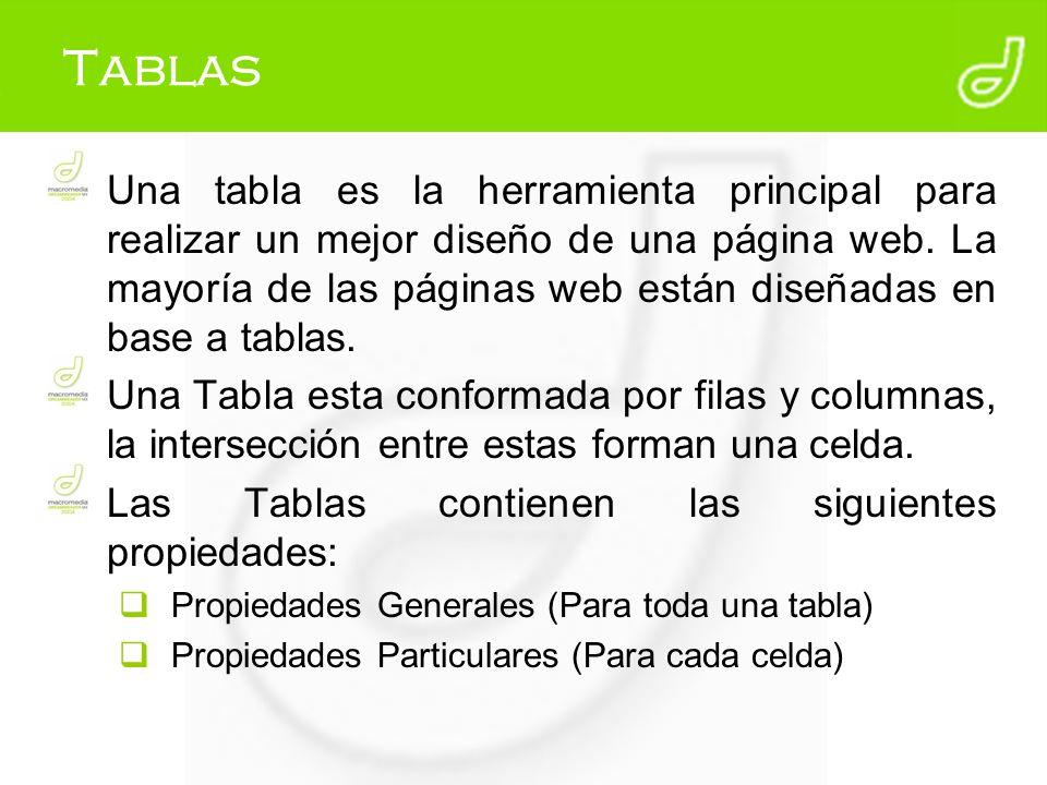 Tablas Una tabla es la herramienta principal para realizar un mejor diseño de una página web. La mayoría de las páginas web están diseñadas en base a