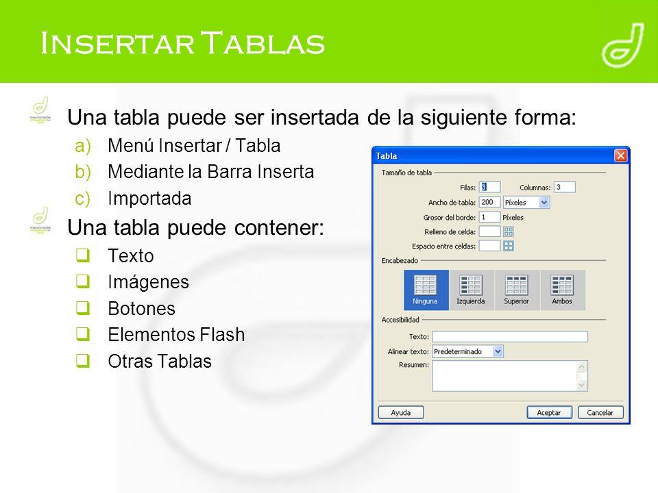 Insertar Tablas Una tabla puede ser insertada de la siguiente forma: a)Menú Insertar / Tabla b)Mediante la Barra Inserta c)Importada Una tabla puede c