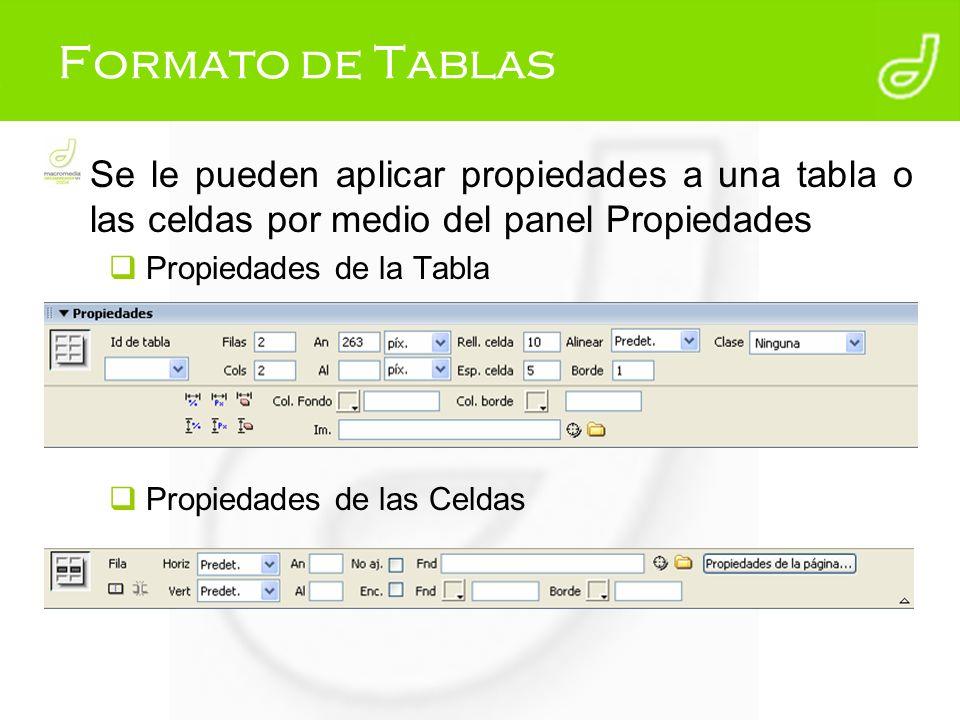 Formato de Tablas Se le pueden aplicar propiedades a una tabla o las celdas por medio del panel Propiedades Propiedades de la Tabla Propiedades de las