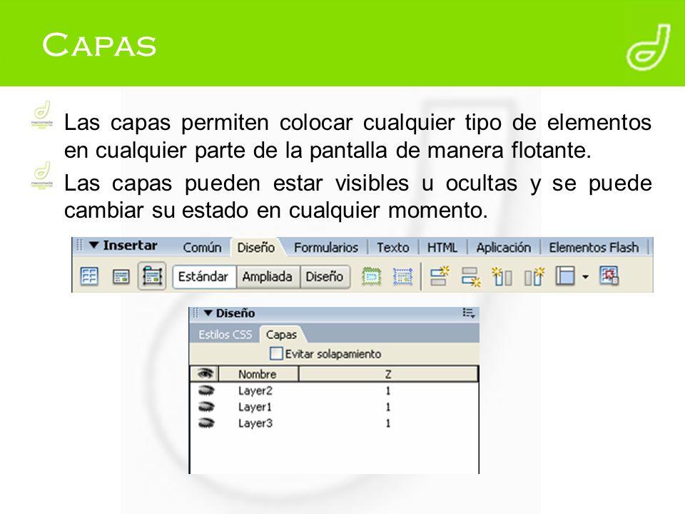 Capas Las capas permiten colocar cualquier tipo de elementos en cualquier parte de la pantalla de manera flotante. Las capas pueden estar visibles u o