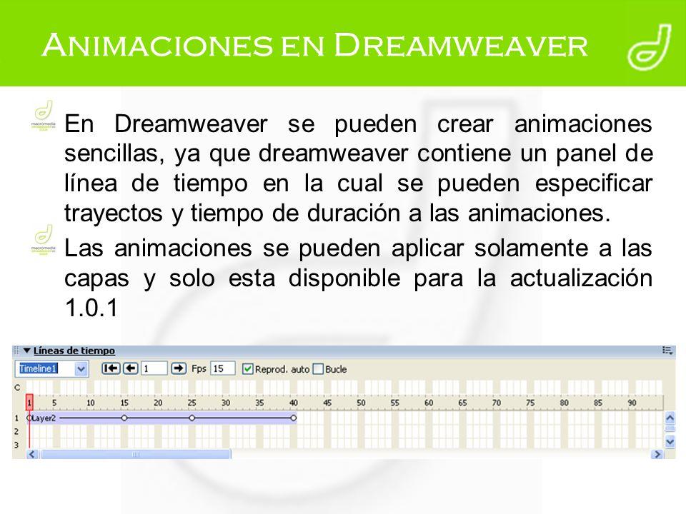 Animaciones en Dreamweaver En Dreamweaver se pueden crear animaciones sencillas, ya que dreamweaver contiene un panel de línea de tiempo en la cual se