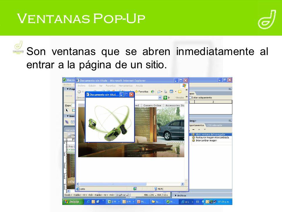 Ventanas Pop-Up Son ventanas que se abren inmediatamente al entrar a la página de un sitio.