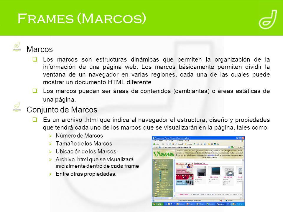 Frames (Marcos) Marcos Los marcos son estructuras dinámicas que permiten la organización de la información de una página web. Los marcos básicamente p