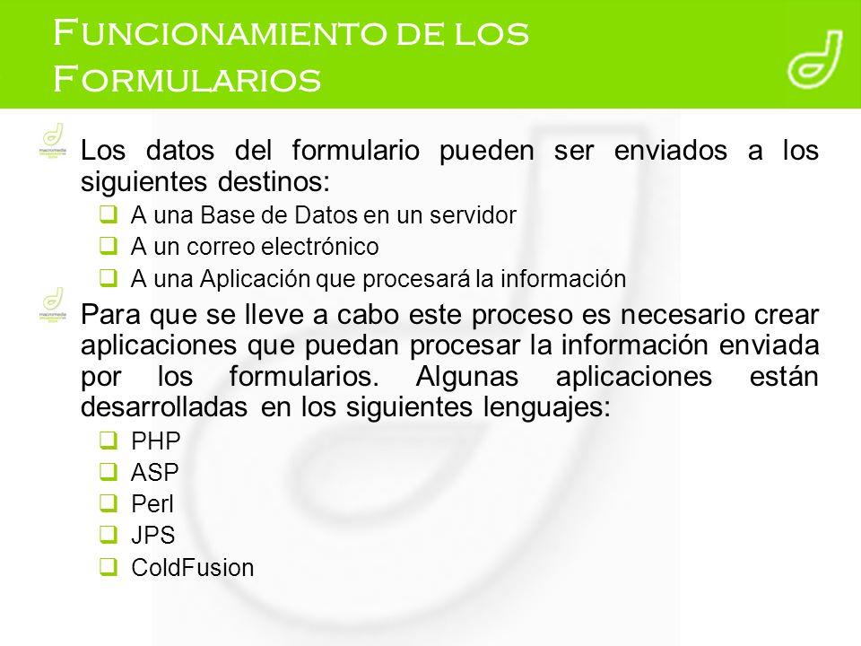 Funcionamiento de los Formularios Los datos del formulario pueden ser enviados a los siguientes destinos: A una Base de Datos en un servidor A un corr