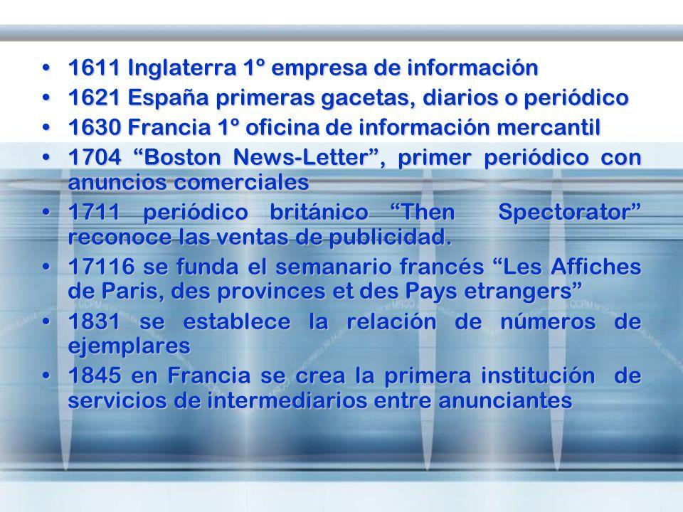 1611 Inglaterra 1º empresa de información1611 Inglaterra 1º empresa de información 1621 España primeras gacetas, diarios o periódico1621 España primer