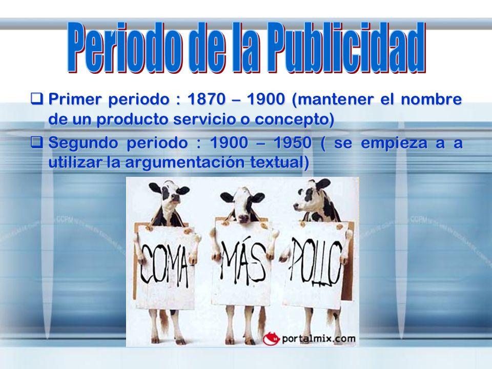 Primer periodo : 1870 – 1900 (mantener el nombre de un producto servicio o concepto) Primer periodo : 1870 – 1900 (mantener el nombre de un producto s