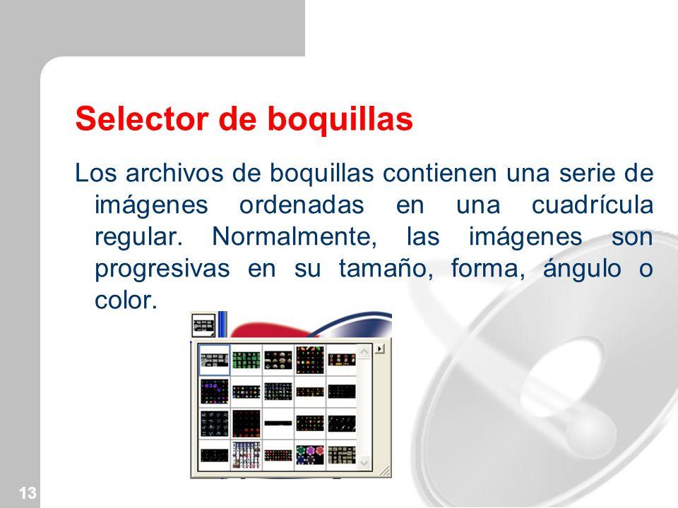 13 Selector de boquillas Los archivos de boquillas contienen una serie de imágenes ordenadas en una cuadrícula regular. Normalmente, las imágenes son